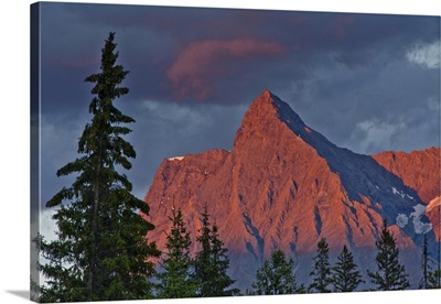 Sunset alpenglow from Kicking Horse River, Yoho National Park, Canada