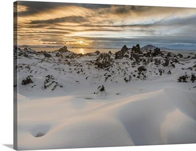 Sunset over lake Myvatn, Iceland