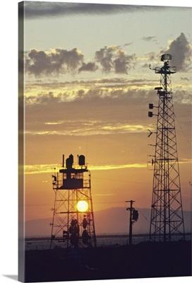 Telecommunications antenna at sunset