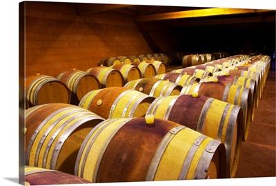 The barrel aging cellars with rows of oak barrels