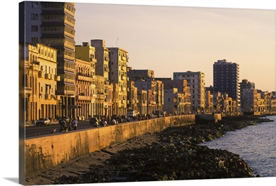 The famous Malecon on the waterfront in the Old City of Havana