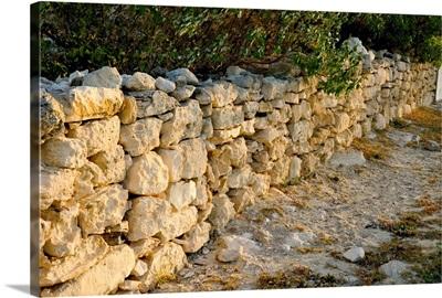 Turks and Caicos, Salt Cay Island, stone wall