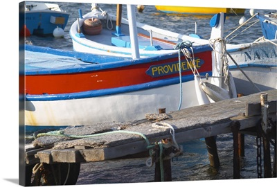 Typical Provencal fishing boats painted in bright colors, Cote d'Azur, France