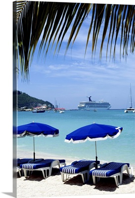 Umbrellas on beach, St. Maarten, Caribbean