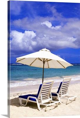 Umbrellas on Dawn Beach, St. Maarten, Caribbean