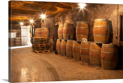 Underground winery and cellar in Chateau Belair, Bordeaux, Gironde, Aquitaine, France