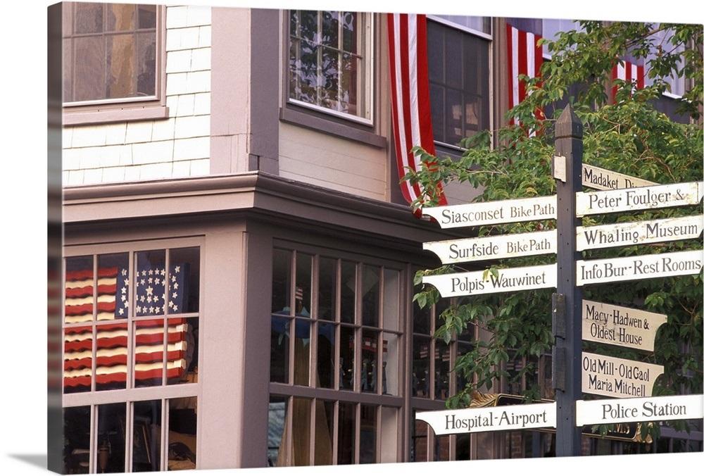 USA, Massachusetts, Nantucket Island, Nantucket Town, road signs