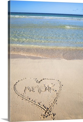 Vieques, Puerto Rico, A heart in the sand of a beach with the word 'amor' inside