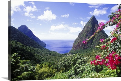 View of the Pitons, Souffriere, St Lucia, Caribbean