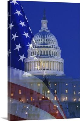 Washington, DC. Digital composite of American flag superimposed over US Capitol building