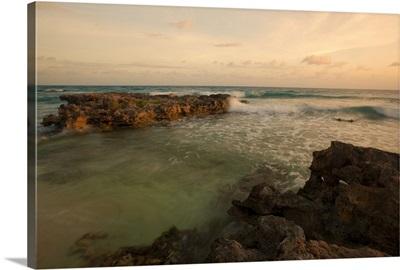 Waves crashing in before sunset at Playa Carbinero, Mona Island, Puerto Rico