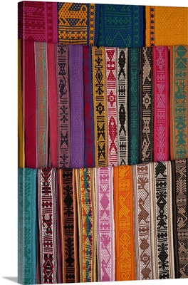Woven belts on display at market, Oaxaca, Mexico