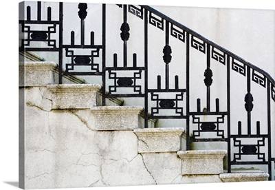 Wrought iron railing on steps of government building in Savannah