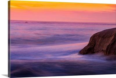 Tidal Waves At Caramel, California Sunset