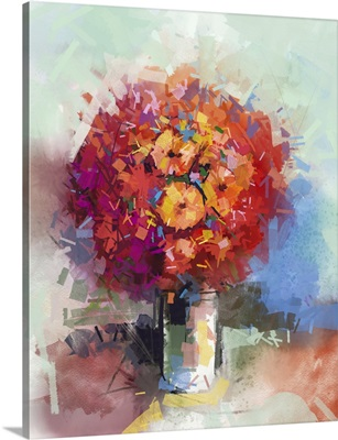 Abstract Still Life A Bouquet Of Flowers, Red Gerbera Flowers In Vase