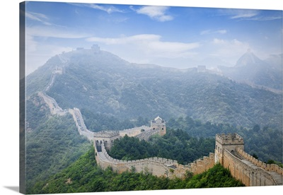 Aerial View Of Great Wall Of China In Fog In Jinshanling, Hebei Province, China