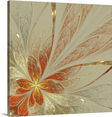 Beautiful Fractal Flower In Yellow, Gray And Red, Computer Generated