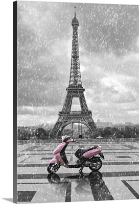 Eiffel Tower In The Rain With Pink Scooter Of Paris, Black And White