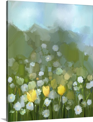 Field Of Yellow Tulip And White Daisy Flowers