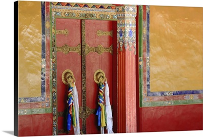 Red Double Door In Drepung, Tibet, 1259
