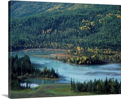Scenic Mountain Lake In Autumnal Woodland, Xinjiang Uygur Autonomous Region, China, Asia