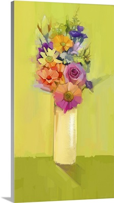 Still Life Of A Bouquet Of Rose, Daisy And Gerbera Flowers In Vase