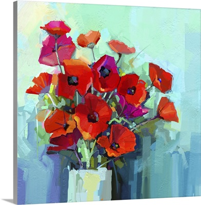 Still Life Of Red And Pink Color Flower, Colorful Bouquet Of Poppy Flowers In Vase