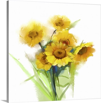 Still Life Yellow Sunflowers With Green Leaf On White Background