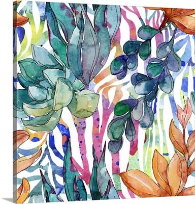 Succulents, Floral, Botanical, Flowers, Wild Spring Leaf Wildflower