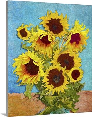 Sunflowers, Digital Art Stylised Like Impressionism Painting