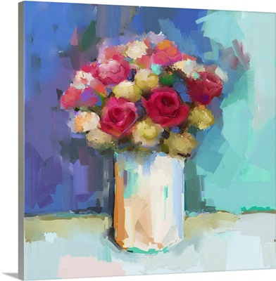 Vase With Still Life A Bouquet Of Flowers