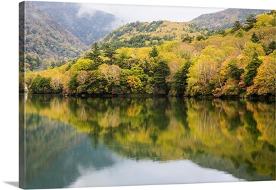View Of Togakushis Lake With Colorful Trees In Autumn, Japan
