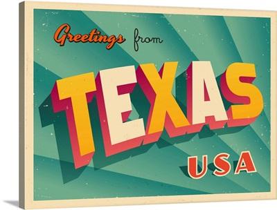 Vintage Touristic Greeting Card - Texas
