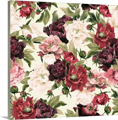 Watercolor Pattern With Peonies
