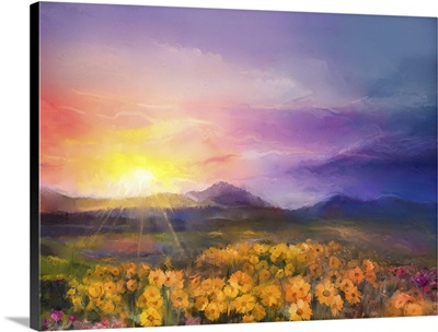 Yellow- Golden Daisy Flowers In Fields, Sunset Meadow Landscape With Hill And Sky