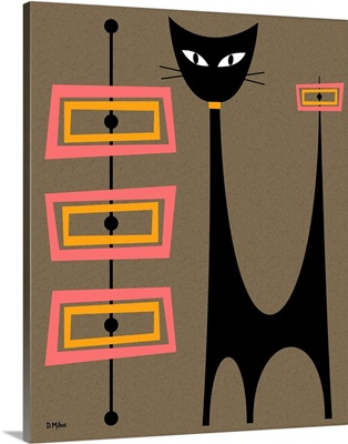 Atomic Cat with Pink and Gold Rectangles