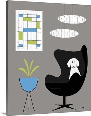Black Egg Chair with Dog