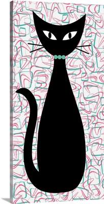 Boomerang Cat in Aqua and Pink