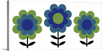 Happy Flowers in Blue and Green