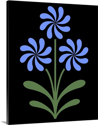 Pinwheel Flowers in Blue on Black