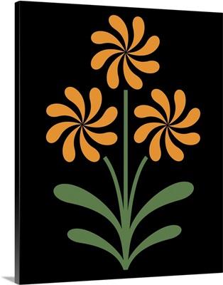 Pinwheel Flowers in Orange on Black