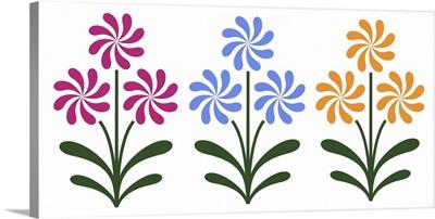 Trio of Pinwheel Flowers