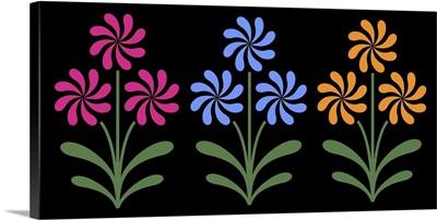 Trio of Pinwheel Flowers on Black