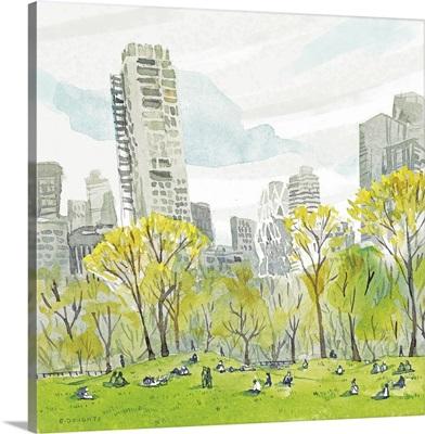 Sheep Meadow - Central Park & Manhattan Skyline