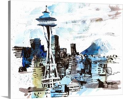 Space Needle & Rainier View from Kerry Park - Seattle, Washington