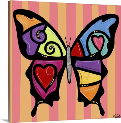 Butterfly Hearts And Swirls