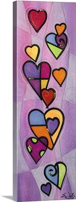 Cascading Hearts on Purple