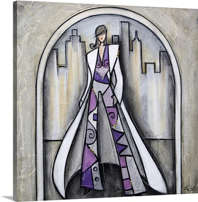 Purple pant suit in the city