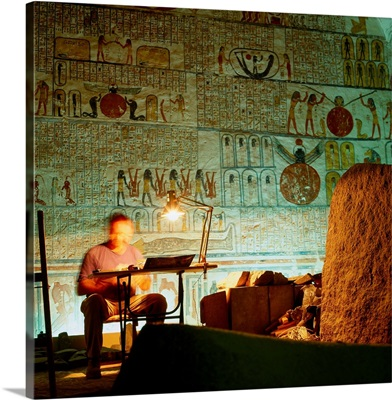 Africa, Egypt, Thebes, Luxor, Tomb of Ramses VI, archaeologist