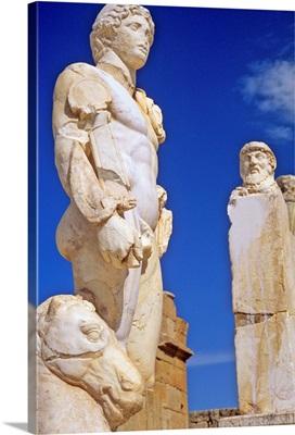 Africa, Libya, Tripolitania, Leptis Magna, statue of the theatre